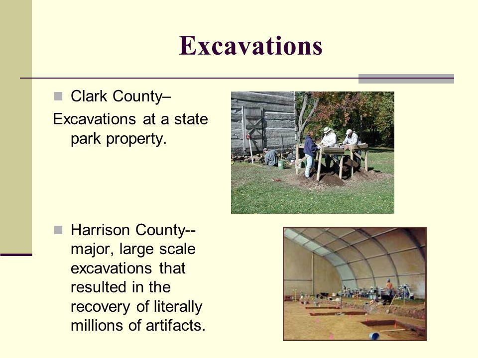 Excavations Clark County– Excavations at a state park property.
