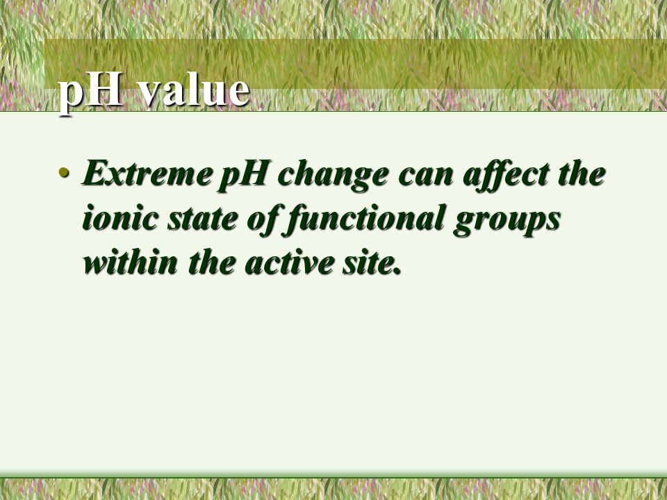 pH value Extreme pH change can affect the ionic state of functional groups within the active site.