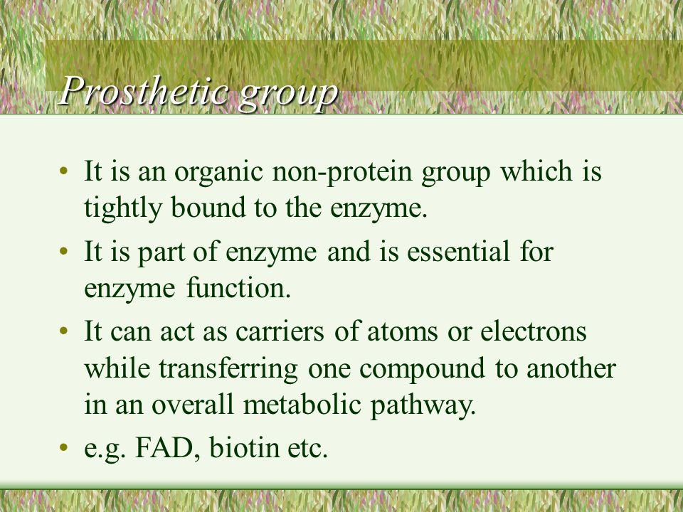 Prosthetic group It is an organic non-protein group which is tightly bound to the enzyme. It is part of enzyme and is essential for enzyme function.