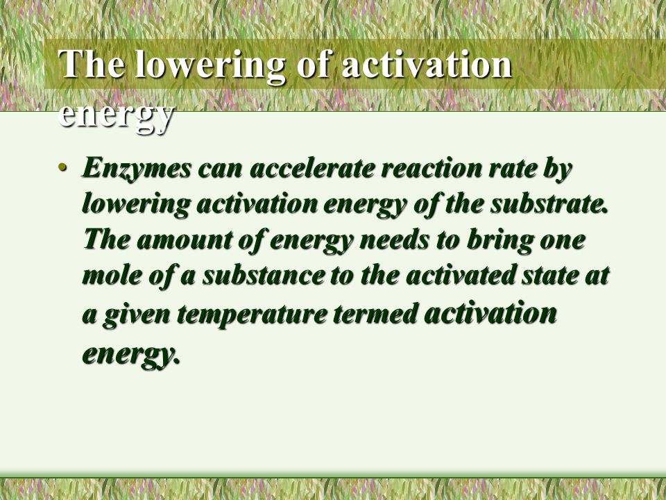 The lowering of activation energy