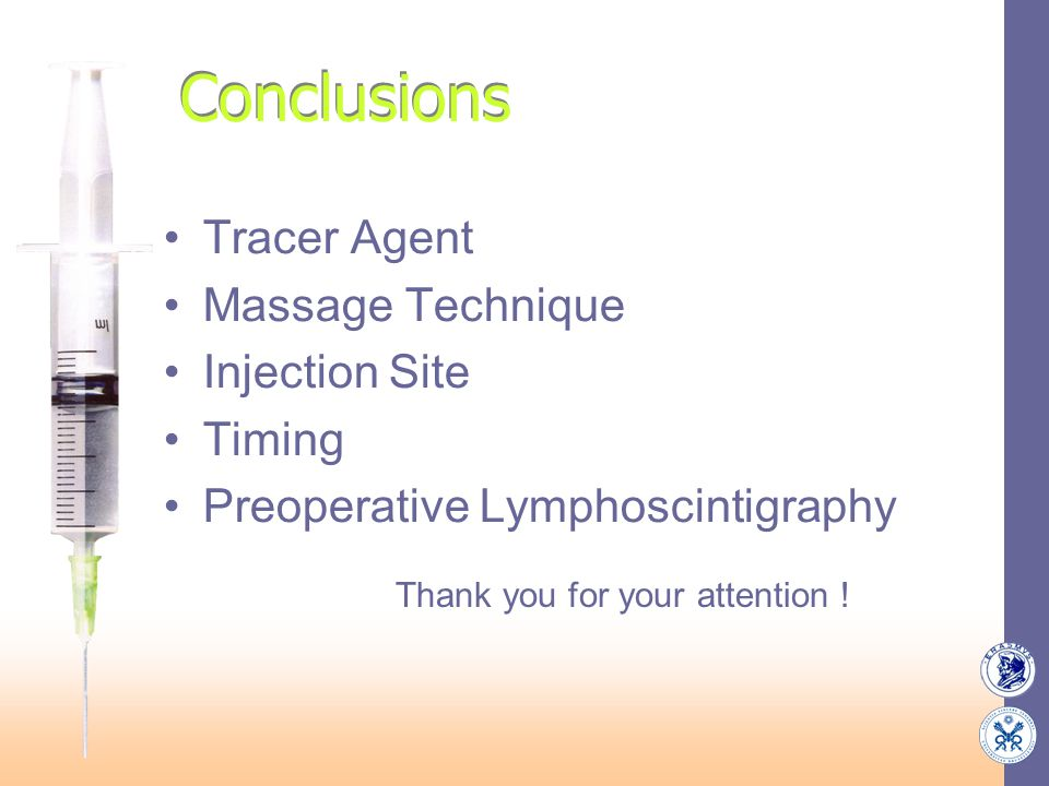 Conclusions Tracer Agent Massage Technique Injection Site Timing