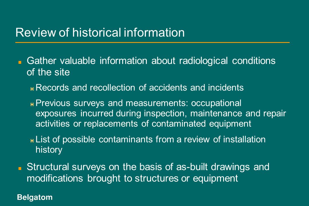 Review of historical information