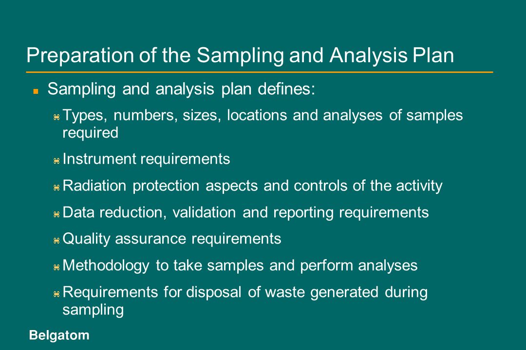 Preparation of the Sampling and Analysis Plan
