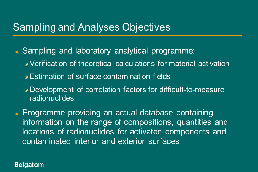 Sampling and Analyses Objectives