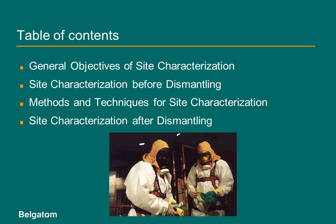 Table of contents General Objectives of Site Characterization