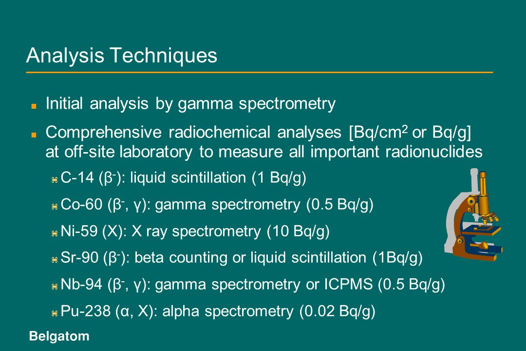 Analysis Techniques Initial analysis by gamma spectrometry