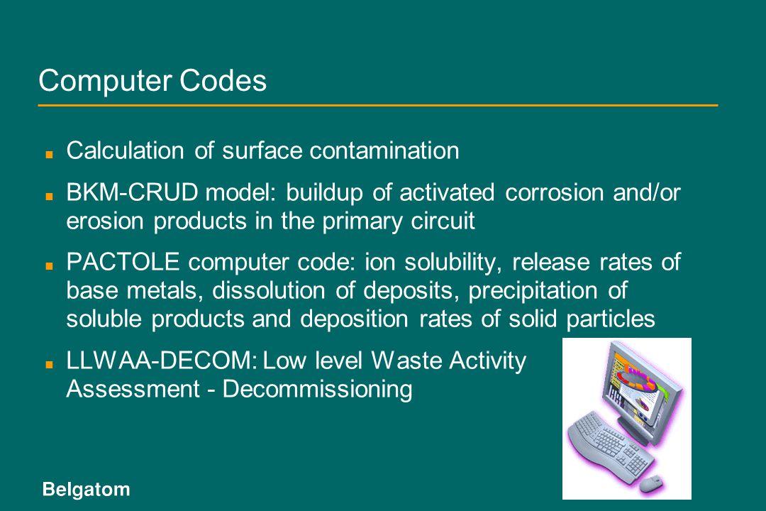 Computer Codes Calculation of surface contamination