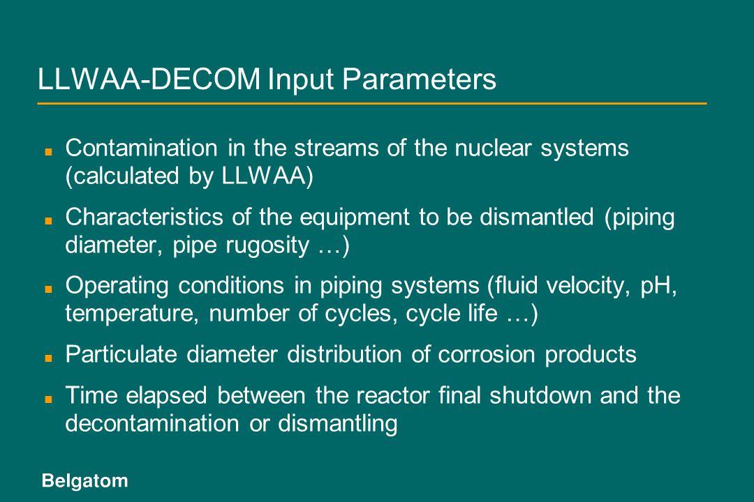 LLWAA-DECOM Input Parameters