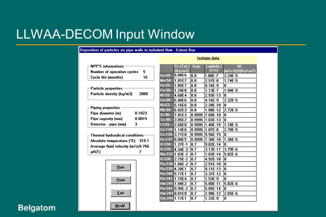 LLWAA-DECOM Input Window