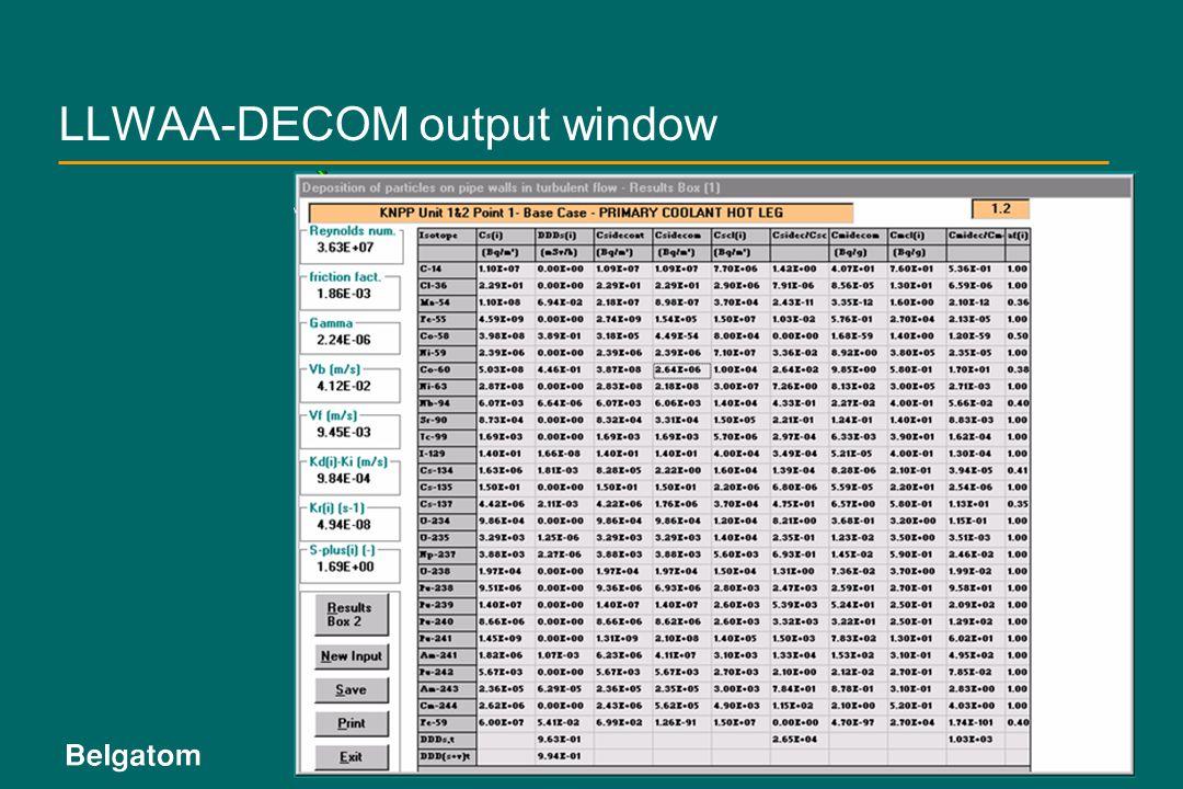LLWAA-DECOM output window