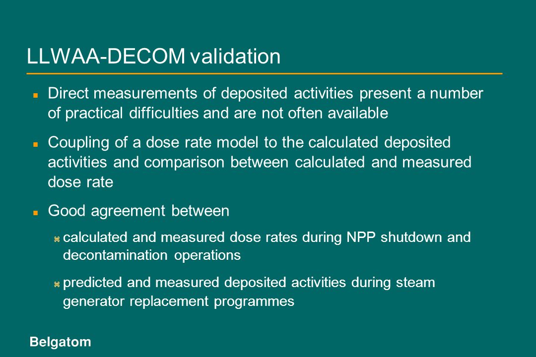 LLWAA-DECOM validation
