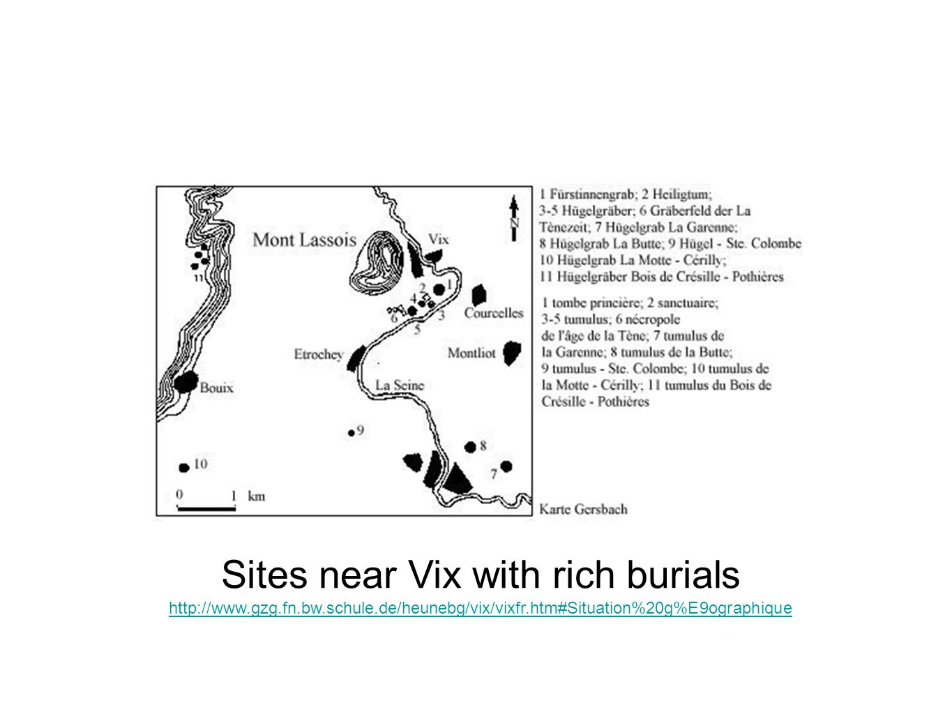 Sites near Vix with rich burials