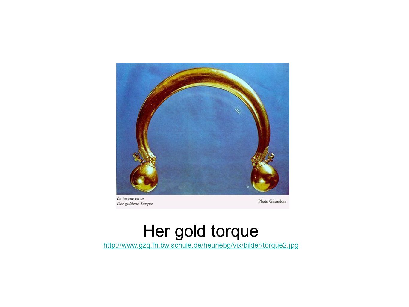 Her gold torque She wore fine gold jewellery