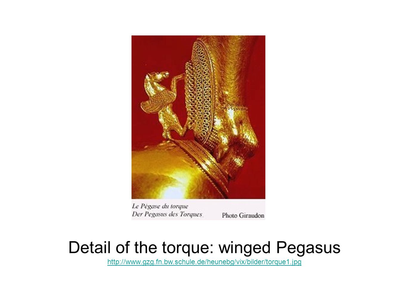 Detail of the torque: winged Pegasus