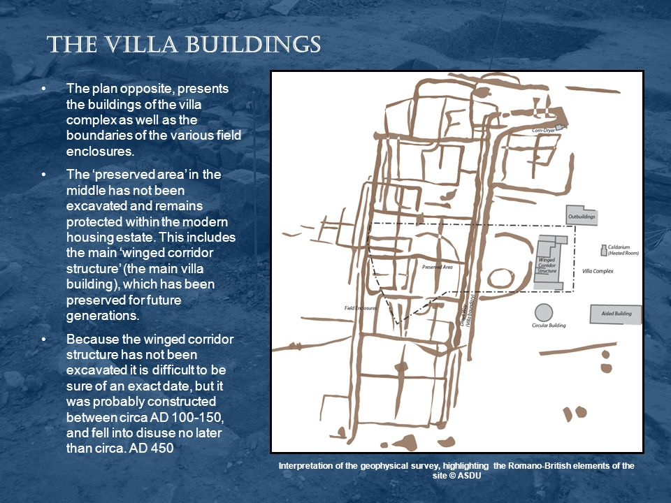 The Villa Buildings The plan opposite, presents the buildings of the villa complex as well as the boundaries of the various field enclosures.
