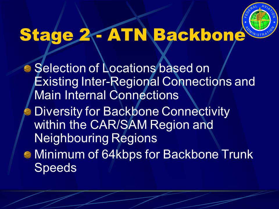 Stage 2 - ATN Backbone Selection of Locations based on Existing Inter-Regional Connections and Main Internal Connections.