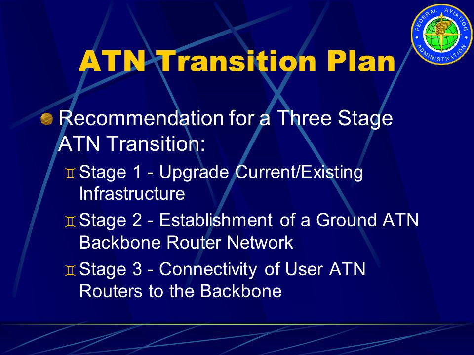 ATN Transition Plan Recommendation for a Three Stage ATN Transition: