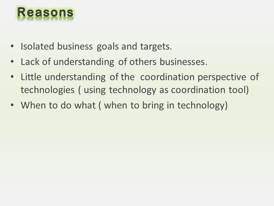 Reasons Isolated business goals and targets.