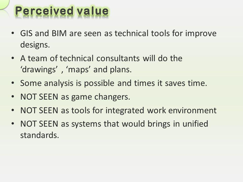 Perceived value GIS and BIM are seen as technical tools for improve designs.