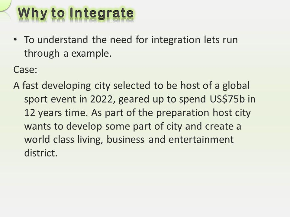 Why to Integrate To understand the need for integration lets run through a example. Case: