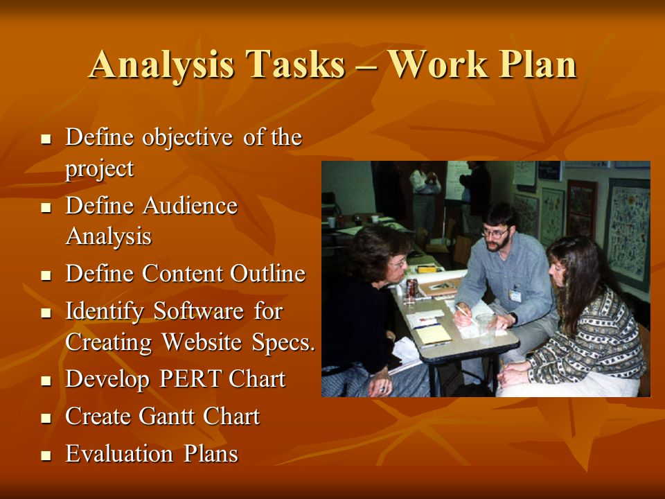Analysis Tasks – Work Plan