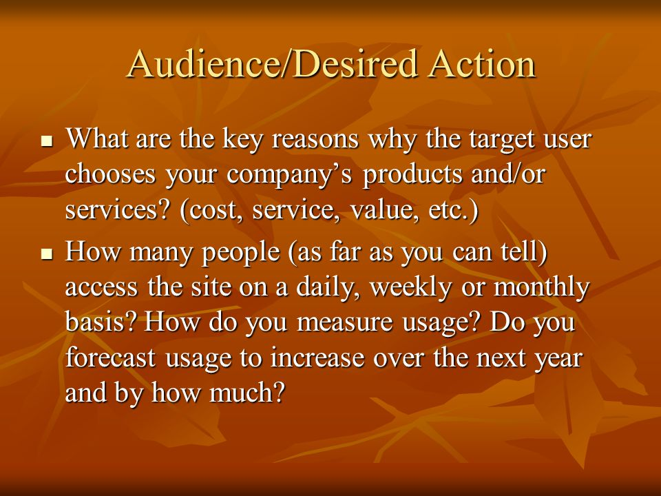 Audience/Desired Action
