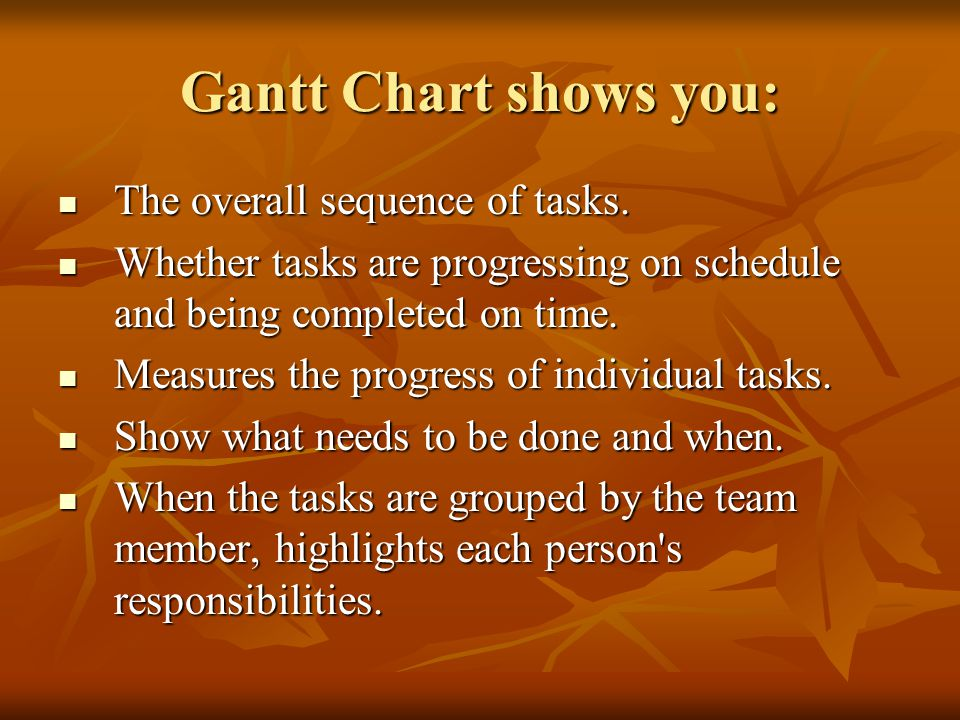 Gantt Chart shows you: The overall sequence of tasks.