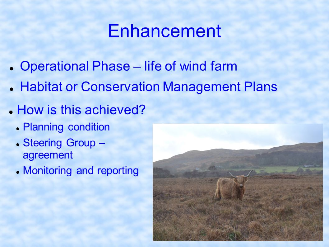 Enhancement Operational Phase – life of wind farm