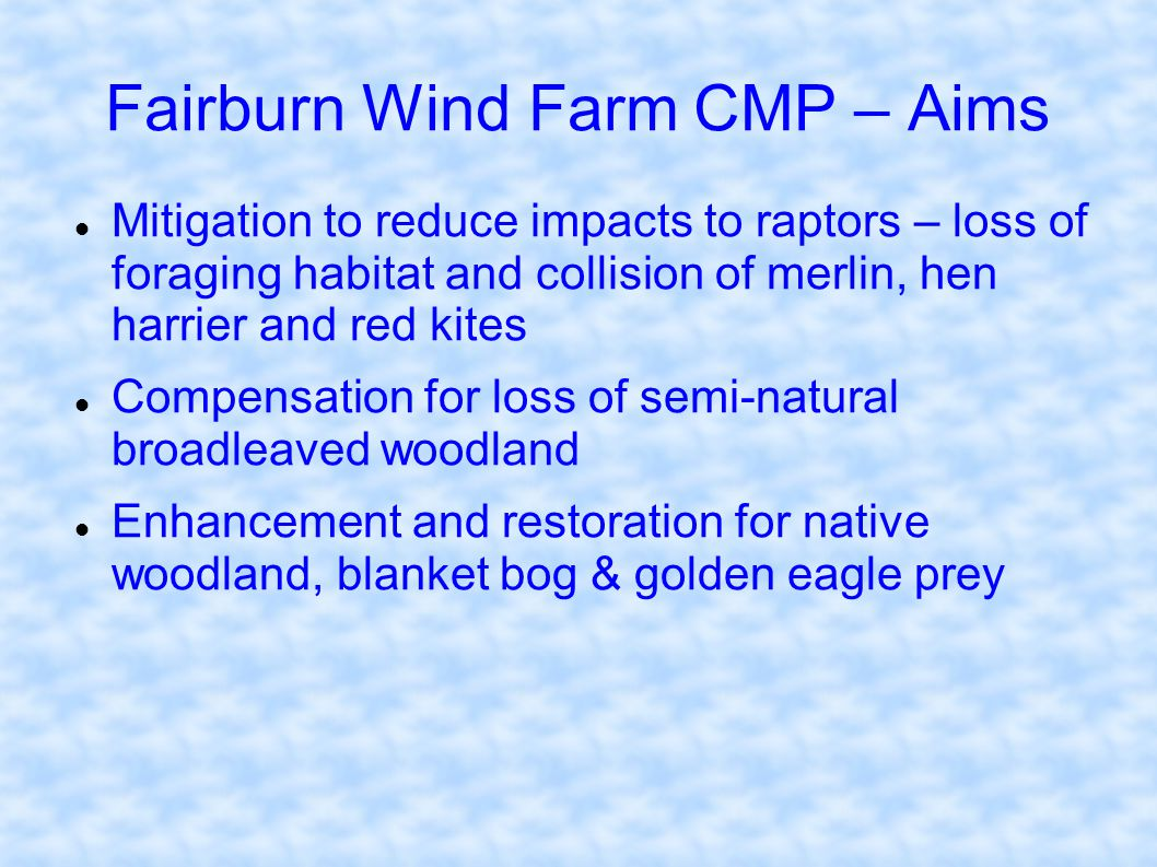 Fairburn Wind Farm CMP – Aims