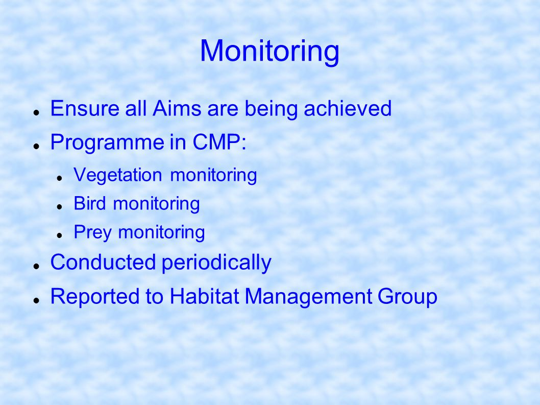 Monitoring Ensure all Aims are being achieved Programme in CMP: