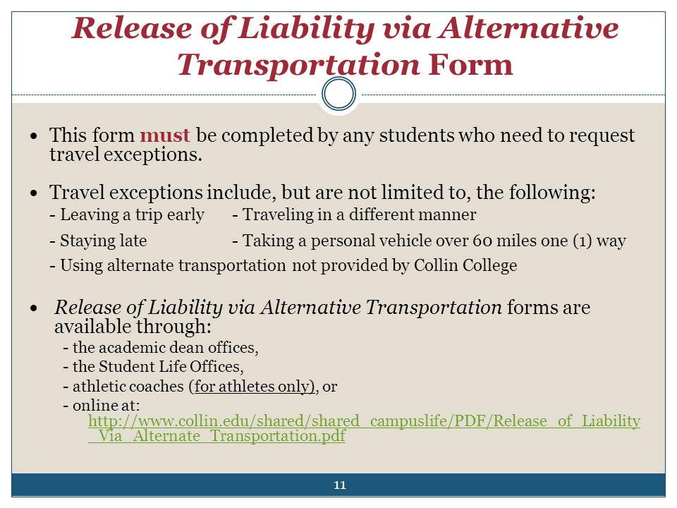 Release of Liability via Alternative Transportation Form