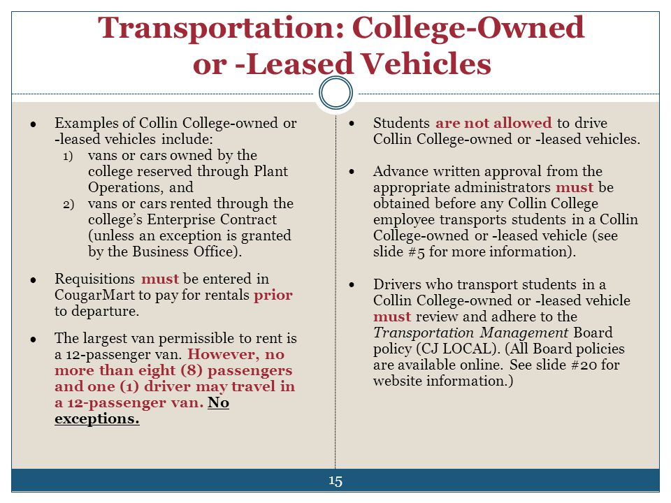Transportation: College-Owned or -Leased Vehicles