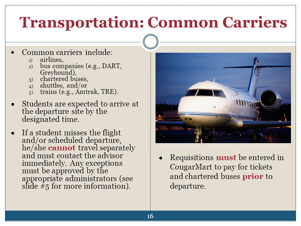 Transportation: Common Carriers