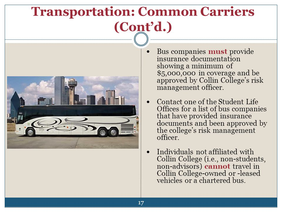 Transportation: Common Carriers (Cont'd.)