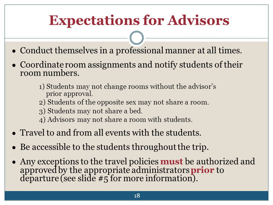 Expectations for Advisors