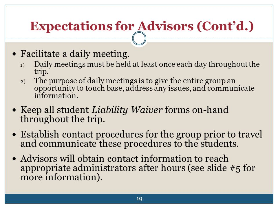 Expectations for Advisors (Cont'd.)