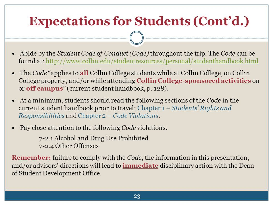 Expectations for Students (Cont'd.)