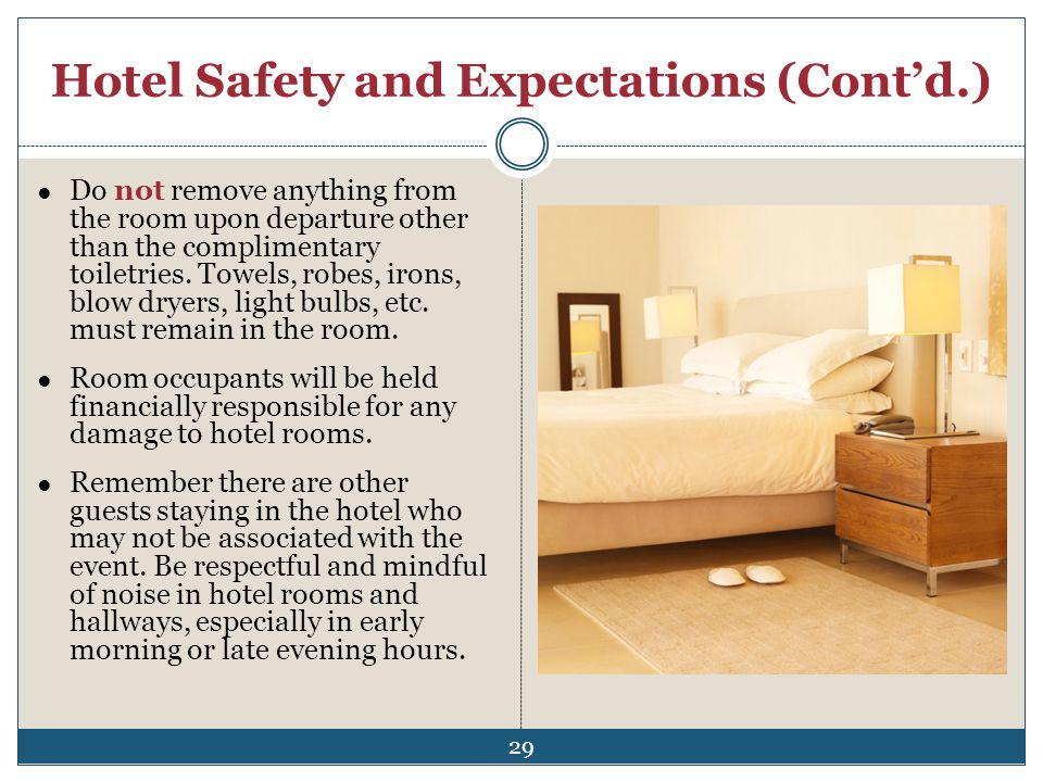 Hotel Safety and Expectations (Cont'd.)