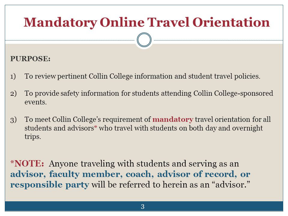Mandatory Online Travel Orientation