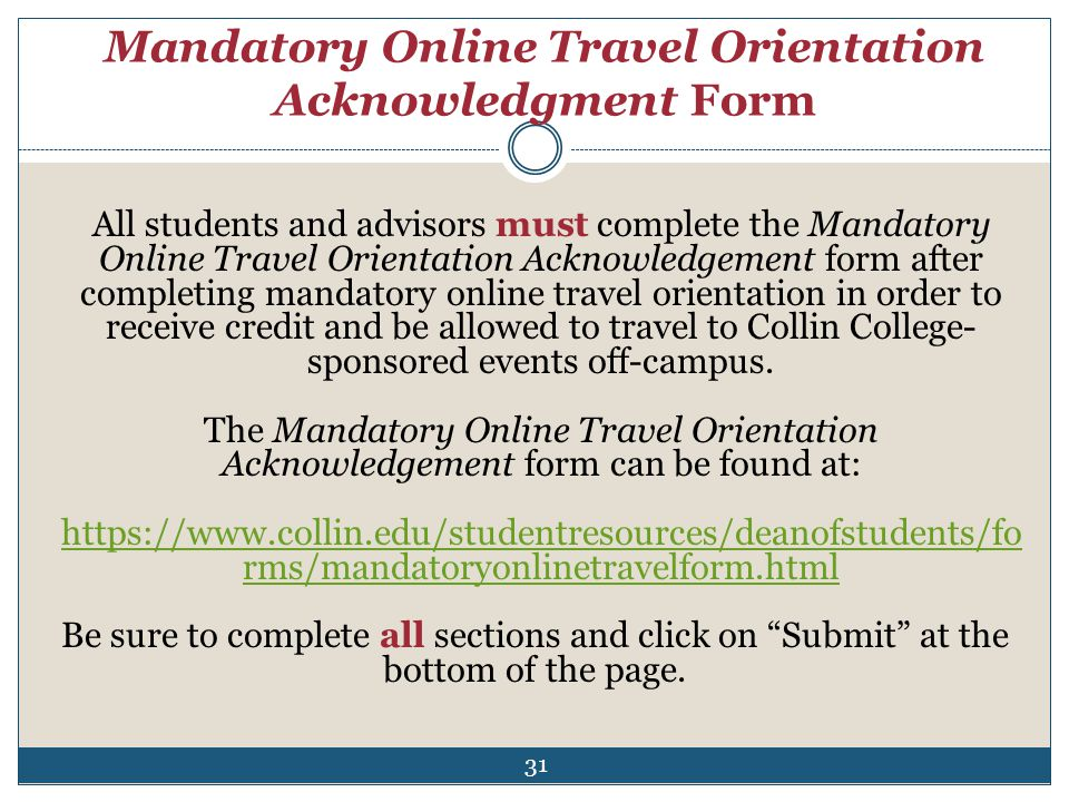 Mandatory Online Travel Orientation Acknowledgment Form