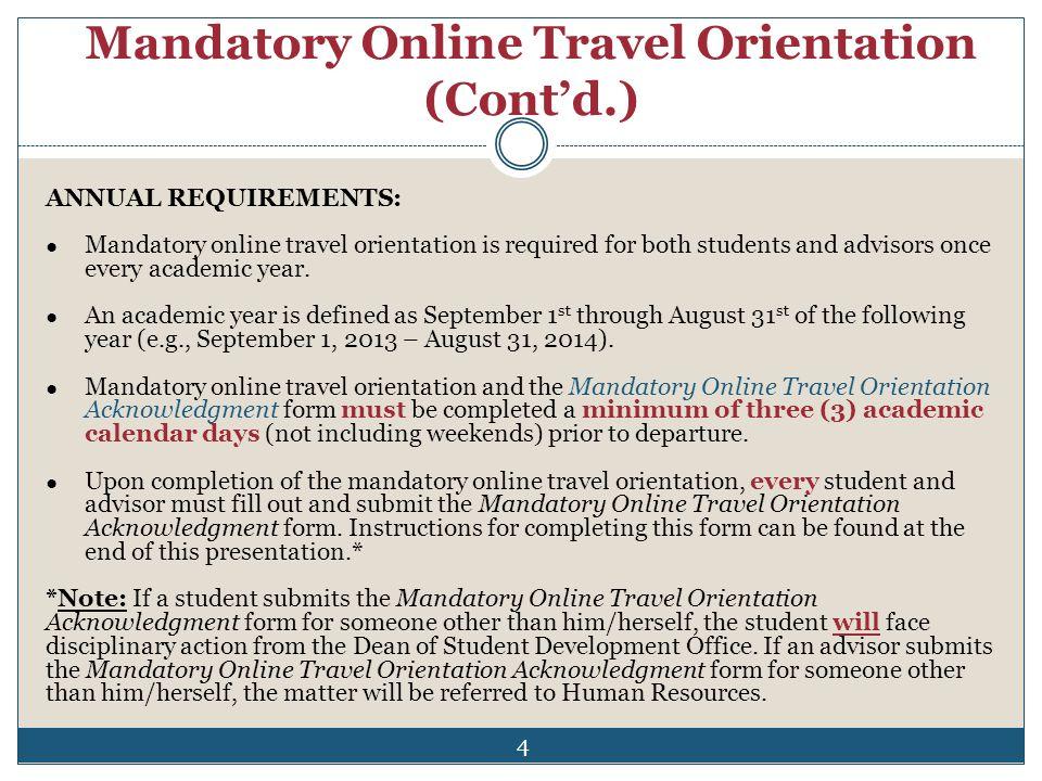Mandatory Online Travel Orientation (Cont'd.)