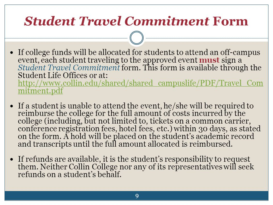 Student Travel Commitment Form