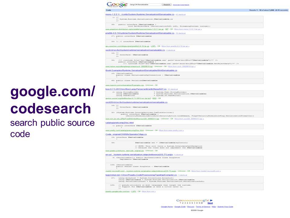 google.com/codesearch search public source code