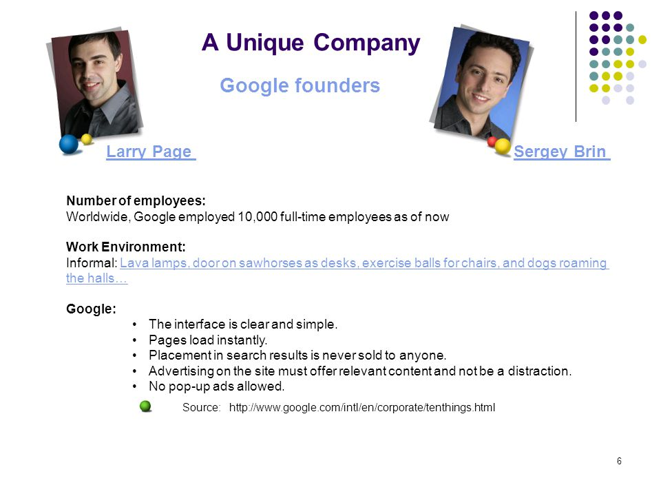 Source: http://www.google.com/intl/en/corporate/tenthings.html