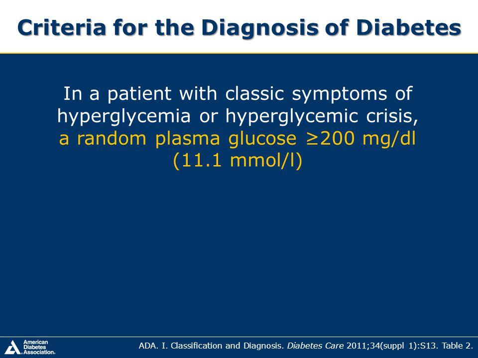 Criteria for the Diagnosis of Diabetes