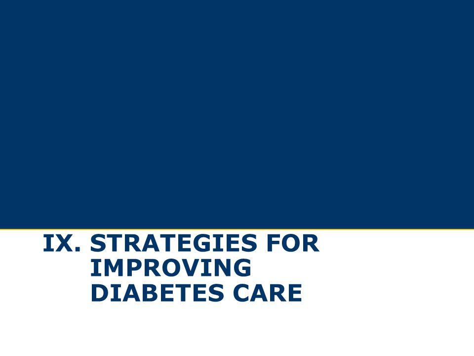 Ix. Strategies for improving diabetes care