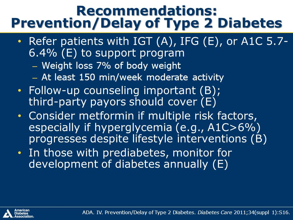 Recommendations: Prevention/Delay of Type 2 Diabetes