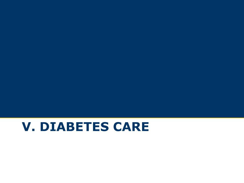 Section V, Diabetes Care, includes 28 slides (1 slide unless otherwise noted):