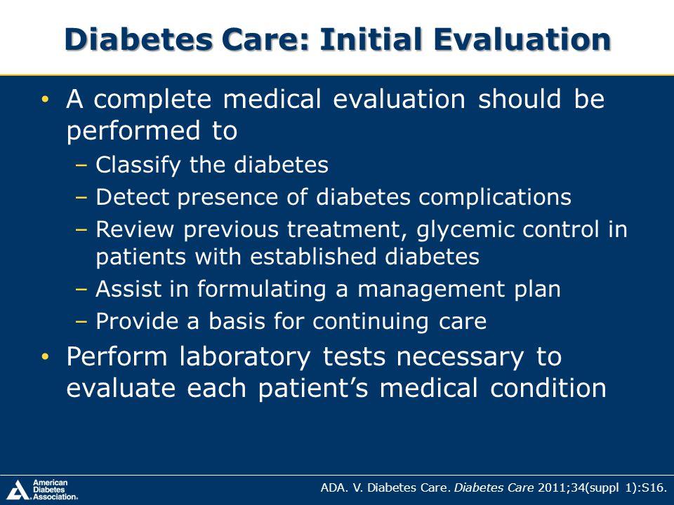 Diabetes Care: Initial Evaluation