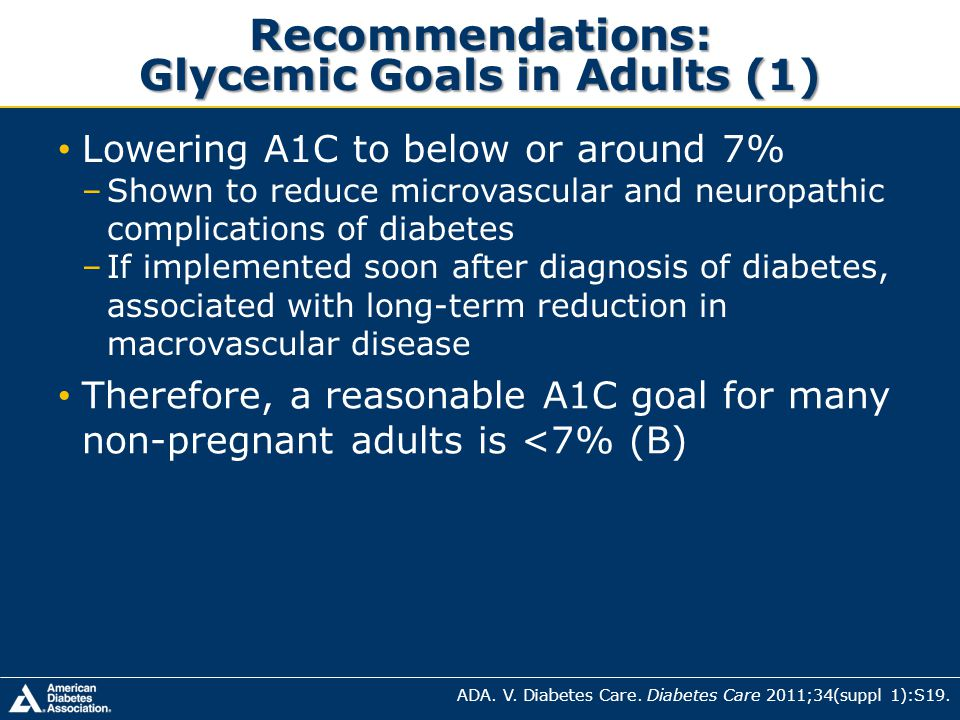 Recommendations: Glycemic Goals in Adults (1)